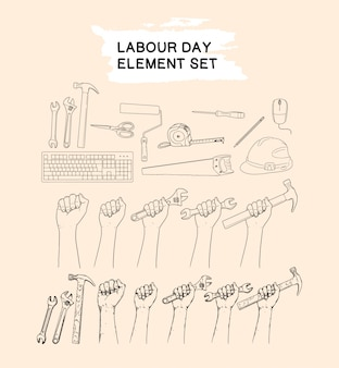 労働者の日要素セット手描きのコレクション
