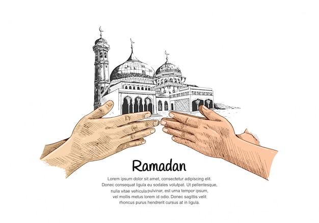 Рамадан дизайн с красочной рукой простить знак
