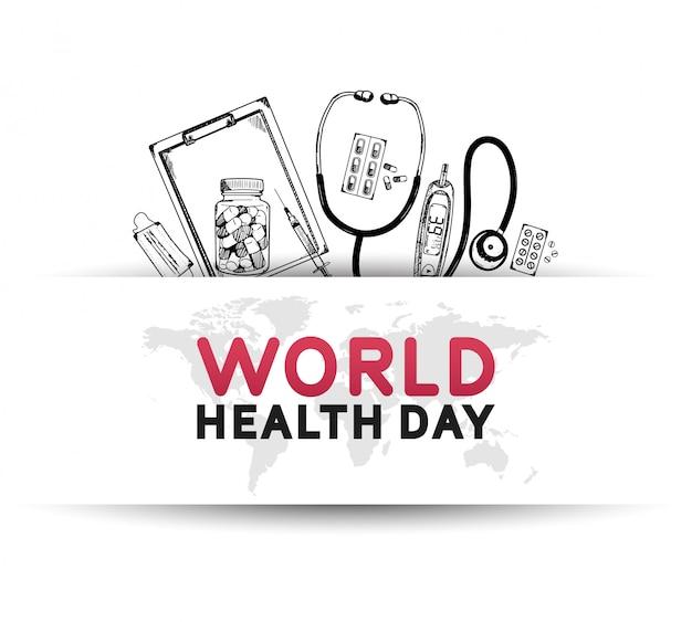 Плакат всемирного дня здоровья с медицинским оборудованием