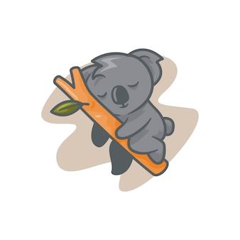 眠っているコアラのかわいいイラスト
