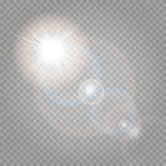 透明で輝く日光の特殊レンズグレア効果。