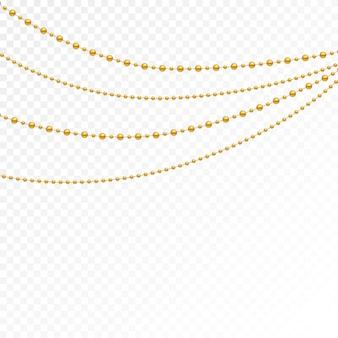 Набор золотых бус и золотых цепочек.