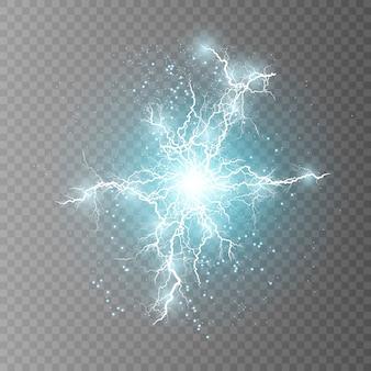 Реалистичная векторная молния на клетчатом фоне