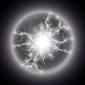 Иллюстрации. прозрачный световой эффект электрической шаровой молнии. волшебный плазменный шар.