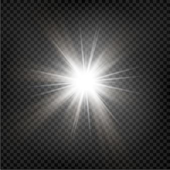 Яркая звезда. прозрачное сияющее солнце, яркая вспышка. блестки. векторная иллюстрация