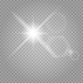 白い輝く光が透明の上で爆発します。