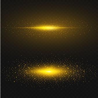 金色の星が黒の背景に輝きます。