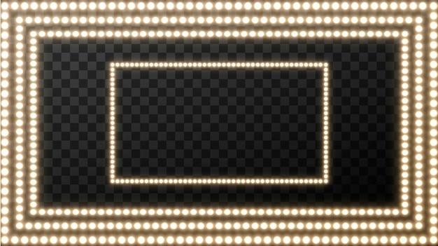 正方形の現実的なレトロな電球。テキスト用の空白スペースと黄金色の電球と輝く映画看板。