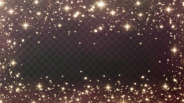 金の火花と金の星は、特別な光の効果で輝きます。