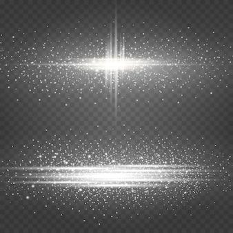 Коллекция светящихся эффектов белого света изолирована