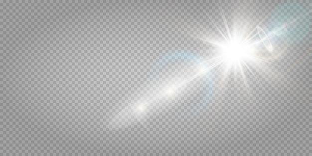 Абстрактный прозрачный солнечный свет специальный объектив бликов световой эффект. размытие в движении свечение блики. изолированный прозрачный фон. горизонтальная звезда взрыв лучей и прожектор.