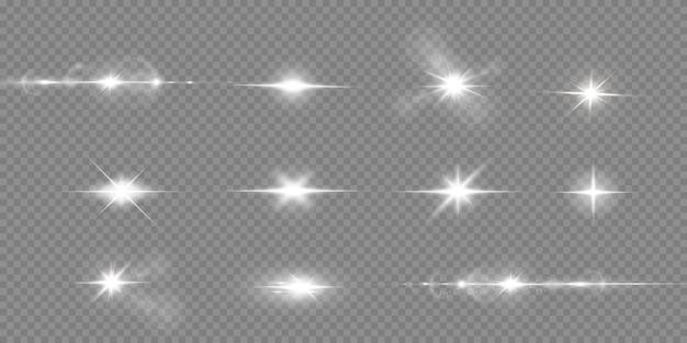 輝く白い背景で隔離の星。効果、まぶしさ、輝き、爆発、白色光、セット。星の輝き、美しい太陽のまぶしさ。