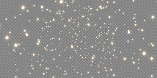 Сверкающая волшебная пыль. на текстурном черно-белом фоне. праздник абстрактный фон из золотых блестящих частиц пыли. волшебный эффект. золотые звезды.