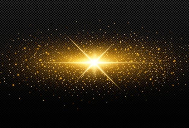 黒の背景に分離された輝く黄金の星。エフェクト、レンズフレア、輝き、爆発、黄金の光、セット。輝く星、美しい黄金色の光線。