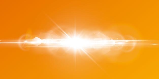 黄色とオレンジ色の背景に輝く太陽と抽象的な輝くレンズフレア。自然なまぶしさで満たされた暖かい太陽。分離された。