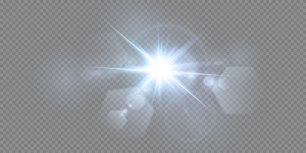 Абстрактный прозрачный солнечный свет специальный объектив бликов световой эффект. размытие в движении свечение блики. изолированный прозрачный фон. элемент декора. горизонтальная звезда взрыв лучей и прожектор.