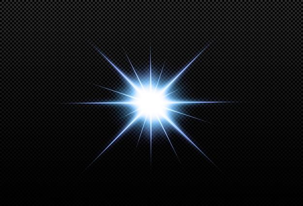 黒の背景に分離された輝くネオンの星。エフェクト、レンズフレア、輝き、爆発、ネオンライト、セット。輝く星、美しい青い光線。