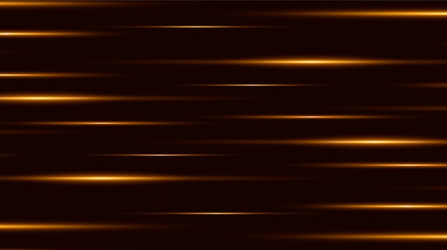 黒の背景、光の効果、黄金色の火花と明るいライン。