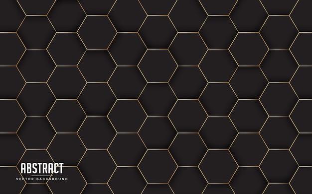 黒と金色の線の色と幾何学的な抽象的な背景