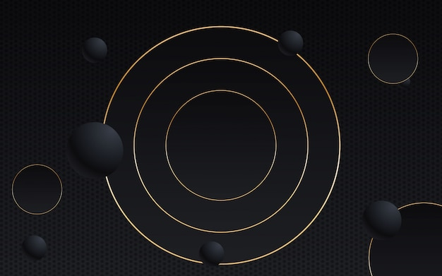 抽象的な背景の幾何学的な黒と金色のライン