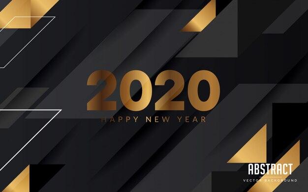 抽象的な背景黒とゴールド色新年あけましておめでとうございますモダンなデザイン