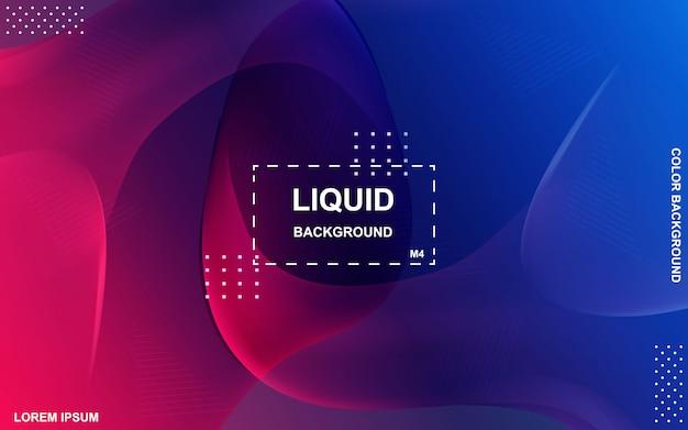 液体色の背景デザイン。流体グラデーション形状の構成