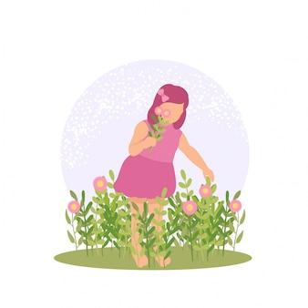 春のかわいい子供女の子屋外で花と蝶を演奏