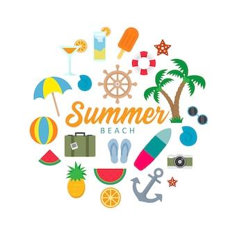 夏のビーチオブジェクトのカラフルなベクトル