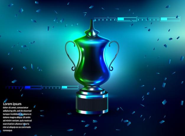 青色の背景に授賞式のためのステージ表彰台シーン