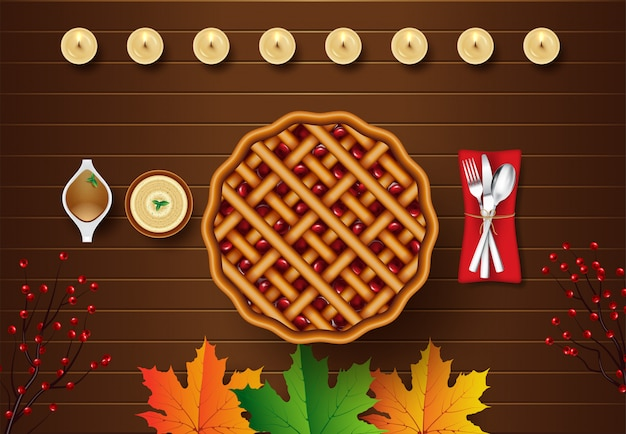 感謝祭の日の夕食の上面図