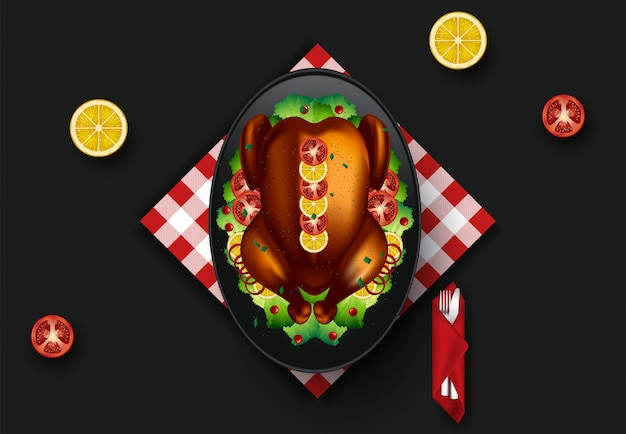 感謝祭のディナーのイラスト。上面図