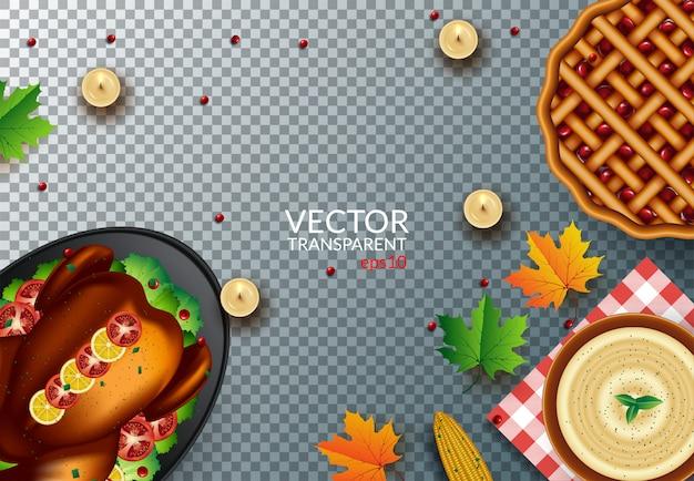 透明の感謝祭の日の夕食のトップビュー