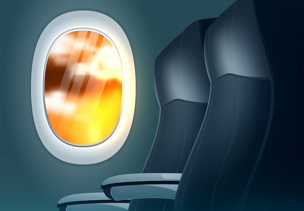 Концепция баннера предложения путешествия с иллюминатором самолета