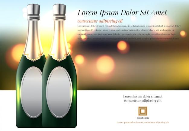 Векторная иллюстрация рюмка с бутылкой шампанского в ведре
