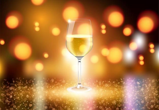 ワイングラスとシャンパンのワインボトル