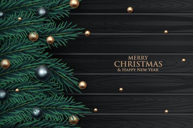 金の泡で飾られたクリスマスツリーブランチ
