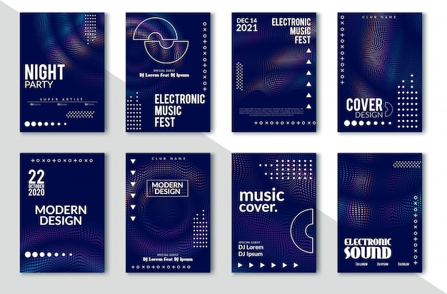 電子サウンドパーティーポスター、抽象的な波歪んだライン