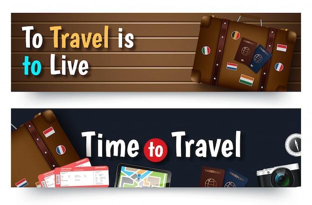 旅行ツアーバナーテンプレート、水平広告ビジネスバナー
