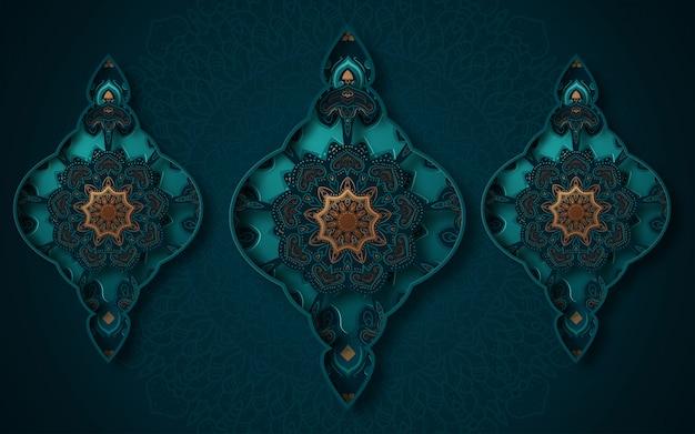 イスラムの幾何学的な芸術の紙のグラフィック。イスラム装飾。