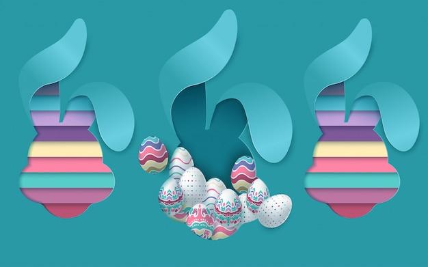 Пасхальная открытка с бумагой вырезать яйцо форму рамки с весенними цветами.