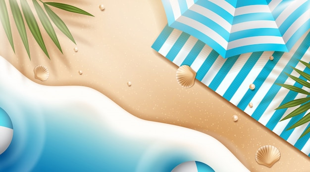 パラソルとビーチの背景