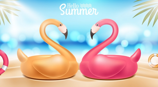Пляж фон с фламинго