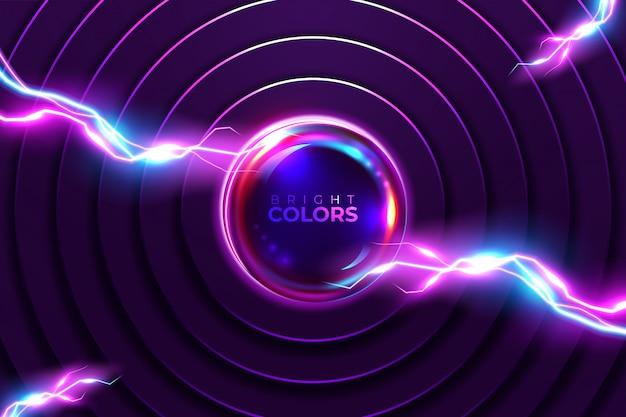 Абстрактный неоновый фон. блеск круглая рамка с легкими кругами светового эффекта.