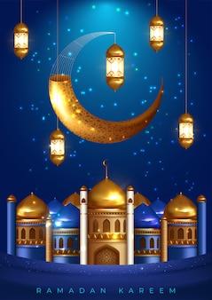 ラマダンデザインのモスクとランタン。イードムバラクにも適したモスクの背景。図