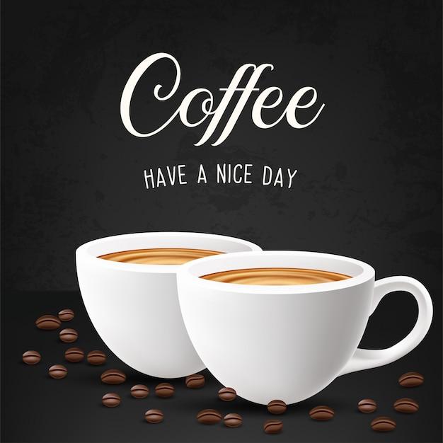 カフェラテとコーヒー豆。図
