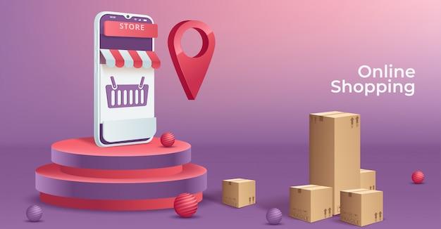 携帯電話でのオンラインショッピングの概念図。