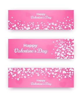 Валентина день баннер набор. розовые любовные купоны с сердечками и счастливым текстом. векторная иллюстрация по горизонтали.