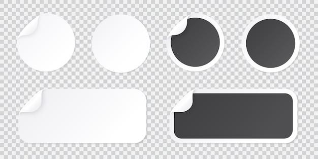 Круглая наклейка шаблона с кожурой угла, черно-белый ценник или шаблон промо-этикетки, изолированные на прозрачной