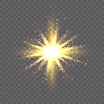 Взрыв золотой звезды и светящиеся частицы