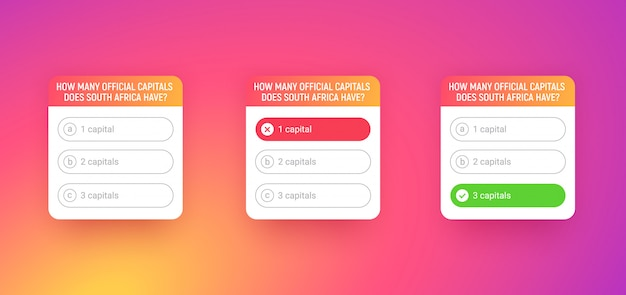 Шаблон викторины для приложения в социальных сетях. опрос с вариантами вопроса на цветном фоне градиента. викторина интерфейс с кнопками. окна с правильными и неправильными ответами.